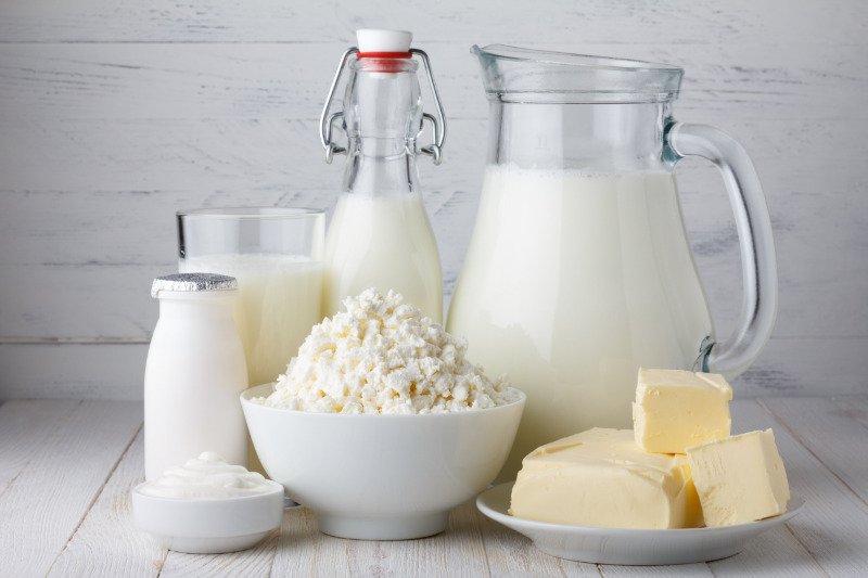 milk and dairy food on table